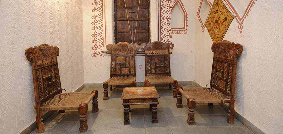 Seating Area inside Cottage: Chouki Dhani Resort